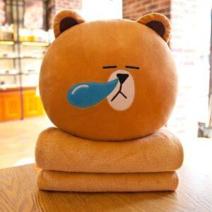 Bộ chăn gối 3in1 gấu brown vàng ngủ khò khò
